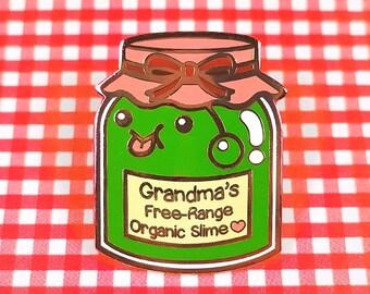 Slime jar hard enamel rose gold plating 4cm - jelly jam cute kawaii lapel pin brooch badge flair collar pin