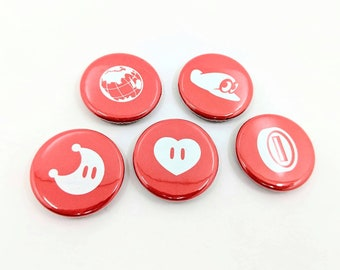 """5 Pack 1.25"""" Super Mario Odyssey Buttons or Magnets - Heart, Coin, Cappy, Powermoon and Globe"""