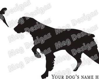 Autocollant Epagneul Breton - chien chasse faisan - voiture Flex - Custom noir ou vous choisissez la couleur