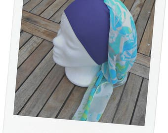 Turban tie preformed - scarf - Hat - chemo band blue flowery lime purple jersey