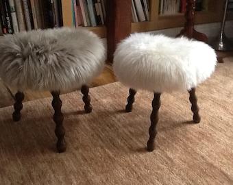 French milking stool with sheepskin