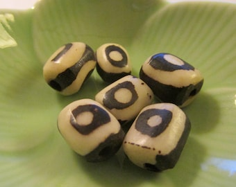 Black and White Batik Bone Beads, 10mm, Set of 6