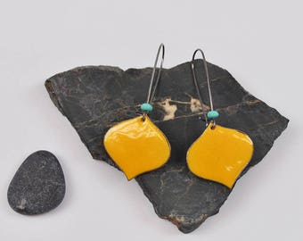 Onion Enameled Earring in Goldenrod with turquoise accent on blackened silver long kidney hooks