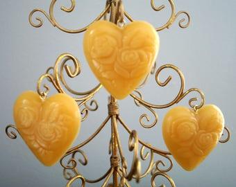 100% Beeswax Rose Heart Ornament Set