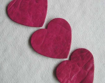 set of 3 hearts #17 leather
