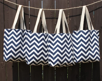 Set of 4 Large BRIDESMAIDS Gifts- navy blue and white CHEVRON stripe zigzag Handbag/ Diaper Bag/ Purse/ Tote/ Beach Bag