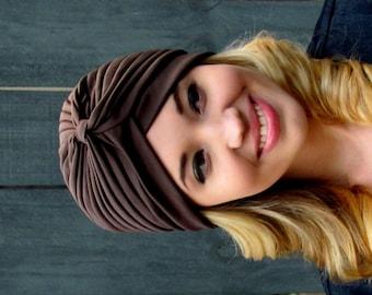 Brown Turban Hat Womens Turban Cloche Full Head Turban Stretch Turban Hat Pleated Design Womens Hat - CHOOSE Your Color