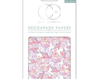 Paper patch (3 sheets) pink floral Notes - CCDECP0119