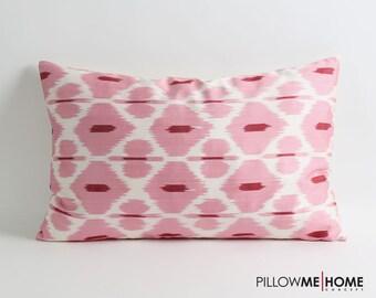 Handwoven & hand dyed silk ikat pillow cover // pink ikat pillow