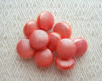 Small Orange Buttons, 13mm 1/2 inch - Pebbled Coral Orange Shank Buttons for Kids - 10 VTG NOS Silvered Orange Plastic Sewing Buttons PL099