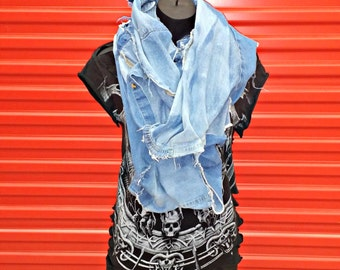 Reclaimed Infinity Scarf . Recycled Blue Jean Shirt . Distressed . Deconstructed . Rockabilly . Winter . Goth . Grunge . Denim
