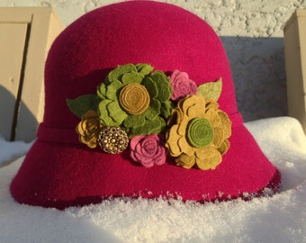 Cloche Hat- Upcycled  custom designed