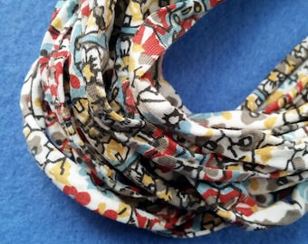 Country Floral Print Recycled T-shirt Infinity Scarf Necklace - upcycled tshirt scarf tarn tshirt yarn, floral scarf