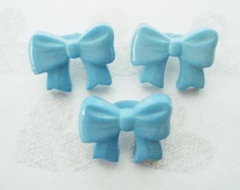 Childrens Button Set - 3 Vintage Blue Bow Buttons - Dimi Blue Kids Buttons - Tiny Blue Little Boys Buttons - Childrens Clothing Buttons