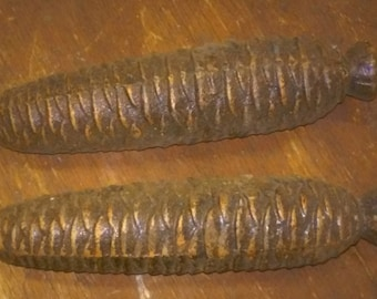 Antique Large Cuckoo Grandfather Grandmother Clock Weights Pine Cone 1500 ET