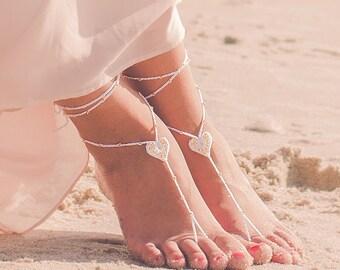 Barefoot Sandals- Foot Jewelry- Barefoot Wedding Sandal- Beach Wedding- Rose Gold Bridesmaid gift- Beach Wedding Shoes- Boho Wedding Shoes