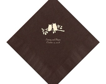 Two Owls Wedding Napkins Personalized Set of 100 Napkins