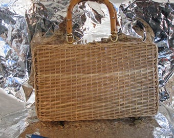Natural Wicker Turn  Buckle Large Women's Handbag
