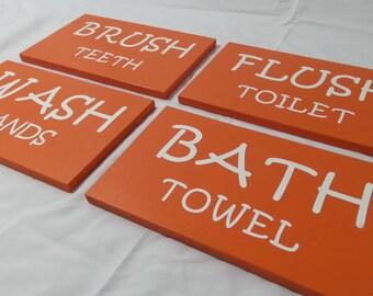Kids Bathroom Signs, Bathroom Wall Decor, Bathroom Wall Art, Brush Teeth Sign, Wash Hands Sign, Bath Towel Sign, Flush Toilet Sign
