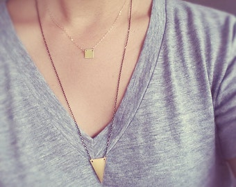 Small Gold Square Necklace - 14K Gold Filled Chain