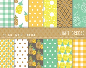 Pineapple Digital Paper Set - Instant Download - Personal and Commercial Use