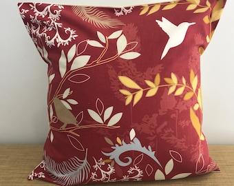"Birds & Leaves on Brick Red cushion cover throw pillow. 18"" (45cm). Made Australia. Cushion covers Australia"