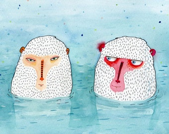 Greeting card - Snow Monkeys