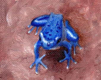 Blue Tree Frog Original 4x4 inch Acrylic Painting