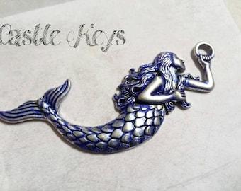 "Mermaid Charm Pendant Antiqued Silver Mermaid Charm Fairy Tale Mythical Charm Pendant 3"" 1 piece Large Focal Pendant Ornate Blue Patina"