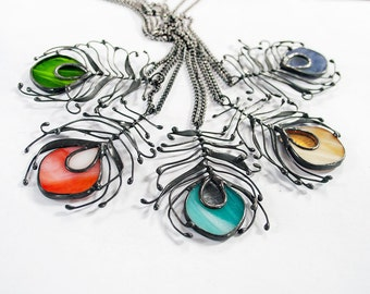 Peacock Feather Necklace, Boho Jewelry, Bohemian Summer Gift For Her, Stained Glass Gift For Girlfriend