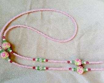 Pink Flower Lime Fun Handmade Beaded Eyeglass Chain Holder