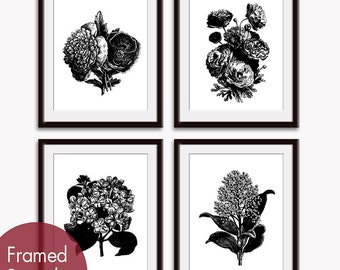 Wild Flower Vintage Bouquet Prints (Series A) Set of 4 - Art Poster Prints (Featured in Black and White) Botanical Art Prints