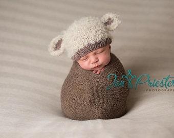 Lamb baby hat hand knit curly hat newborn photo prop cream ecru beige brown taupe boy girl unigender animal beanie with ears neutral natural