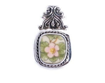 Broken China Jewelry - Spode Queens Ware - Pink Blossom Sterling Silver Pendant