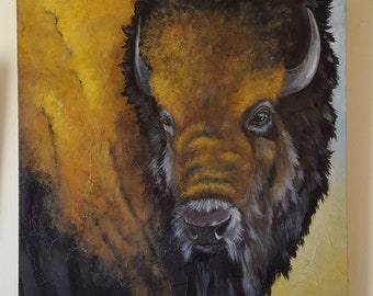 "Buffalo Painiting - ""Buffalo Bill"" - Original Acrylic"