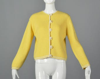 Large 1960 Yellow Knit Cardigan Long Sleeve Button Front Long Sleeve Separates Midcentury Casual Day Wear 60s Vintage