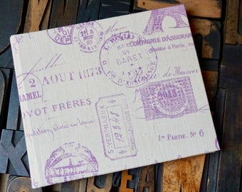 Photo Album - Medium with Paris Post Marks and the Eiffel Tower