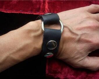 Punk Cuff Bracelet/Black Leather Black Metal Cuff/Handmade Cuff Small Chrome Ring