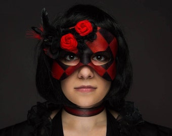 Masquerade Mask Red and Black Checkers - Queen of Hearts Mask with Roses