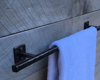 Rustic wrought iron towel bar