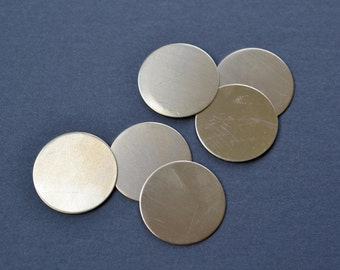 1 inch diameter round brass discs- qty 6- raw brass disk blank, raw brass circle, stamping disc, blank brass tags, metal stamping blank