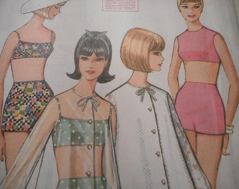 Vintage 1960's McCall's 7775 Bathing Suit and Beach Jacket Sewing Pattern Size 14 Bust 34