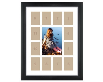 Craig Frames, 12x16 Inch Black School Years Frame, Single White Collage Mat with 13 Openings (500121601C32A)