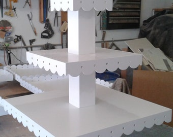 3 Tier Cake Pop or Cupcake Stand with Scalloped Edges and Ribbon Lacing Holes.