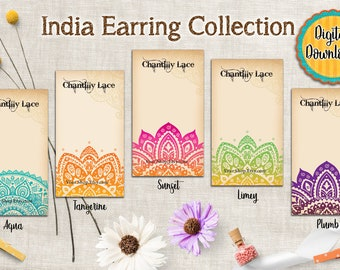 Earring Card Digital Download - Necklace Card - Printable Jewelry Cards - Editable Digital Instant Download - Designs of India
