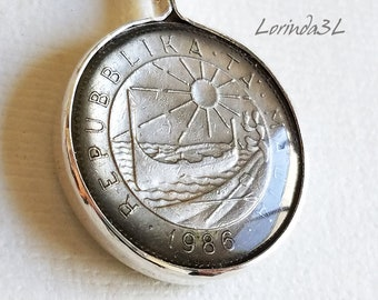 Vintage Coin Pendant from Malta