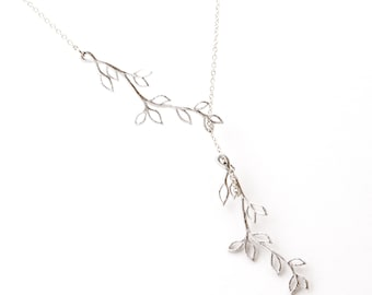 Silver Branch Lariat Necklace, Wedding Jewelry, Graduation Gift, Everyday Necklace, Bridesmaid Jewelry,