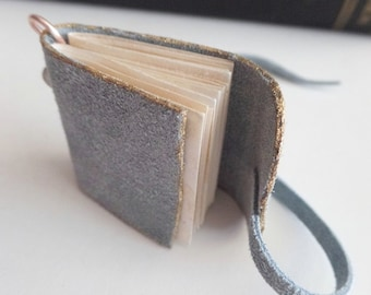 Mini wearable journal pendant blue suede with coffee stained pages USA, love notes diary vows autographs poetry something blue sketch book