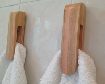 Tea towel holder made from cherry