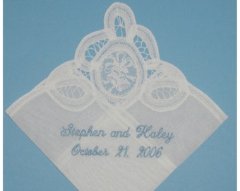 """Bridal Wedding Gift Handkerchief, Belgian Lace """"Wedding Bells"""" Handkerchief, with Bride and Groom's Names and Wedding Date, Free Shipping"""